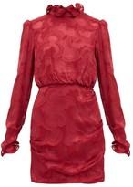 Saloni Rina Ruffled Silk-blend Jacquard Mini Dress - Womens - Burgundy