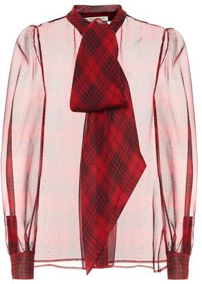 Saint Laurent Checked silk mousseline blouse