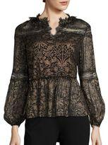 Elie Tahari Coraline Metallic Silk Blouse