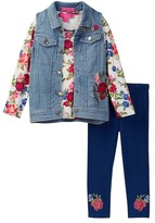 Betsey Johnson Floral Top, Denim Vest, & Legging Set (Little Girls)