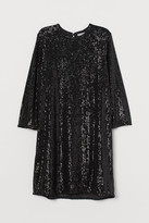 H&M Short Sequined Dress - Black