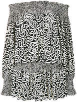 Norma Kamali printed bardot mini dress