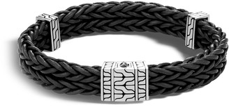 John Hardy Men's Sterling Silver Classic Chain Heritage Double Chain Leather Bracelet