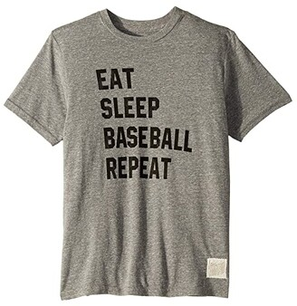 Original Retro Brand The Kids Eat Sleep Baseball Repeat Tri-Blend Short Sleeve Tee (Big Kids) (Streaky Grey) Boy's T Shirt