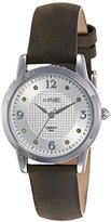August Steiner Women's AS8198GY Silver Quartz Watch with White Dial and Grey Suede Leather Strap
