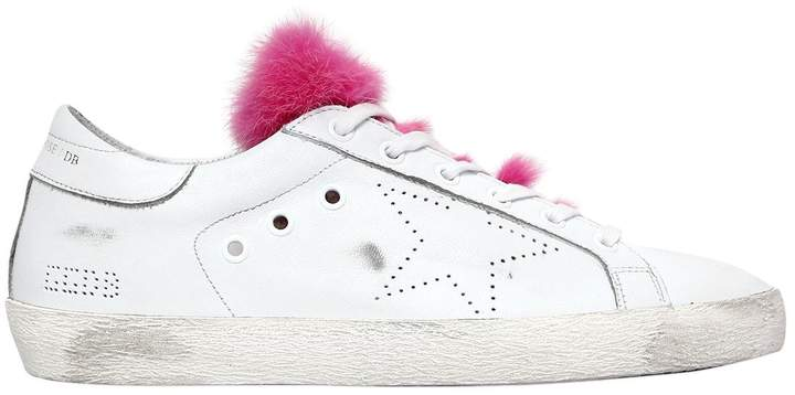 Golden Goose 20mm Super Star Leather & Mink Sneakers