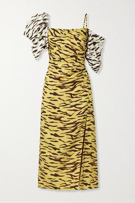 REJINA PYO Amelia Gathered Tiger-print Satin-twill Midi Dress - Beige