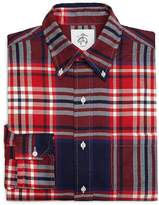 Brooks Brothers Red White and Navy Plaid Button-Down Shirt