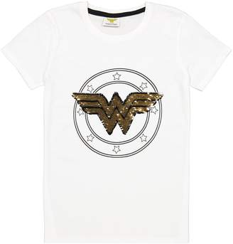 Wonder Woman Cotton Reversible Sequin T-Shirt, 8-16 Years