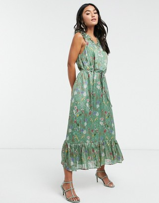 Y.A.S maxi dress with ruffle detail and button front in striped floral