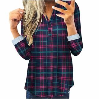 Buyao Plaid Shirts for Women Plus Size Long Sleeve Mandarin Collar Plaid Roll Sleeve V Neck Flowy Loose Tunic Blouse