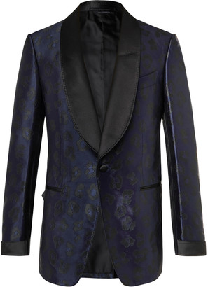 Tom Ford Shelton Leopard-Jacquard Tuxedo Jacket - Men - Blue