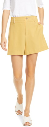 Vince High Waist Topstitch Detail Shorts