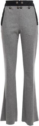 Just Cavalli Button-embellished Melange Brushed-felt Wool-blend Flared Pants