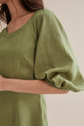 Country Road Linen Puff Sleeve Dress