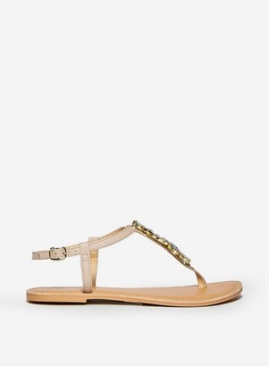 Dorothy Perkins Womens Wide Fit Nude Leather 'Josie' Sandals