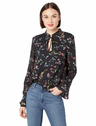 Cupcakes And Cashmere Women's Edyth Printed CDC Blouse w/Front Keyhole & tie