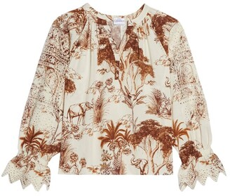 Sandro Printed Broderie Anglaise Blouse