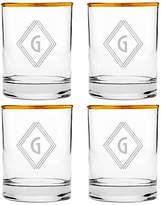 One Kings Lane Set of 4 Deco Diamond Monogram Glasses - Gold