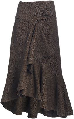 Johanna Ortiz Forever Yours Herringbone Wool Midi Skirt