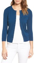 Halogen Petite Women's Three Quarter Sleeve Crewneck Cardigan