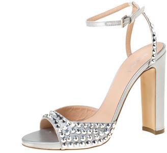 Baldinini Grey Studded Satin Open Toe Slingback Sandal Size 37.5