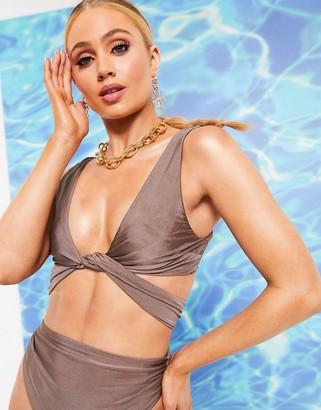 ASOS DESIGN SWIM GLAM cross loop crop bikini top in high shine mink