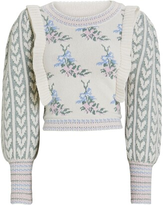 LoveShackFancy Warwick Cropped Floral Sweater