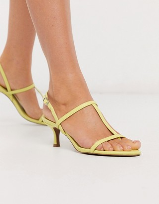 Who What Wear Romi strappy mid heeled sandals in lime