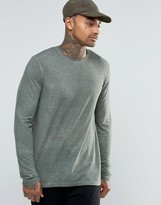 Asos Linen Mix Long Sleeve T-Shirt With Pigment Wash
