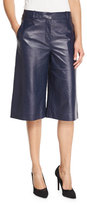 Diane von Furstenberg Asheton Leather Culotte Pants, Midnight