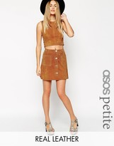 Asos Button Through A-Line Suede Skirt