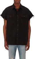 R 13 Men's Denim Frayed-Sleeve Shirt-BLACK