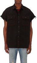 R 13 Men's Denim Frayed-Sleeve Shirt