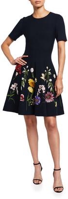 Oscar de la Renta Floral Fit-&-Flare Dress