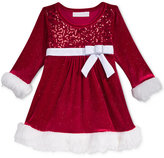Bonnie Baby Baby Girls' Sequin Velvet Dress with Faux-Fur Trim