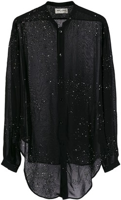 Saint Laurent Embellished Sheer Shirt