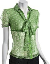 D&G green floral chiffon tie neck button blouse
