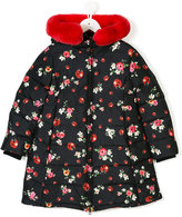 Dolce & Gabbana ladybird rabbit fur trim coat