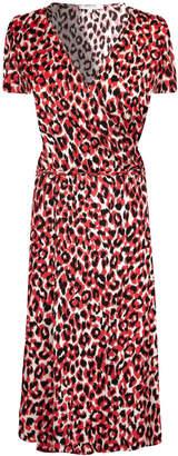 Gerard Darel Leopard Print Wrap Dress
