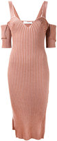 Victoria Beckham ribbed cold shoulder dress