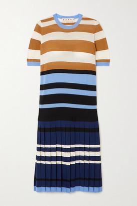 Marni Pleated Striped Wool Dress - Blue
