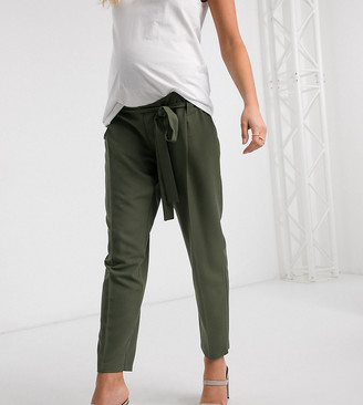ASOS DESIGN Maternity under bump tailored tie waist tapered ankle grazer pants