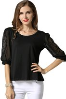 Unomatch Women Formal Wear Lace Decorated Sleeves Blouse