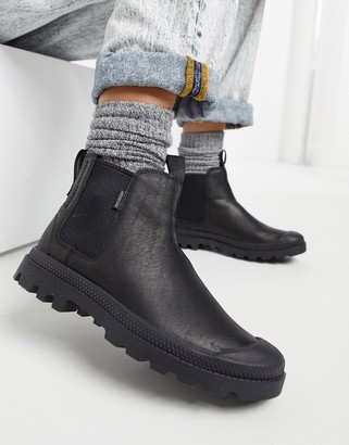 Palladium Pampa leather chelsea boots in black