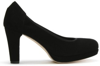 Calpierre Black Suede Low Platform Court Shoes