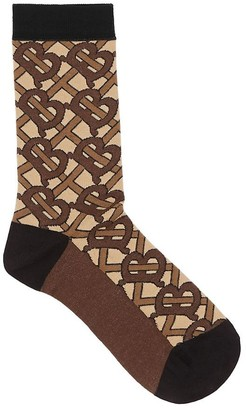 Burberry Monogram Intarsia Cotton Blend Socks