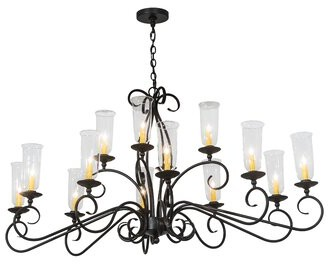 Wallis 2nd Ave Design Oval 14-Light Shaded Chandelier 2nd Ave Design Finish: Antique Iron Gate, Shade: Clear Glass Hurricane