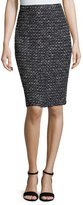 St. John Santana Mod Check-Knit Pencil Skirt, Black