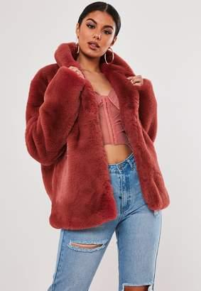 Missguided Stassie X Pink Shawl Collar Faux Fur Coat